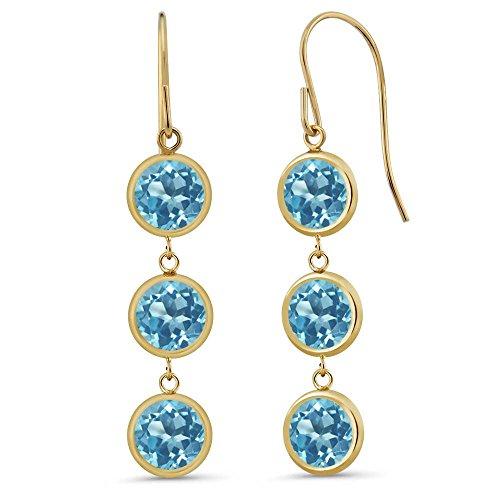 3.60 Ct Round Swiss Blue Topaz 14K Yellow Gold Bezel 1'' Dangle Women's Earrings by Gem Stone King
