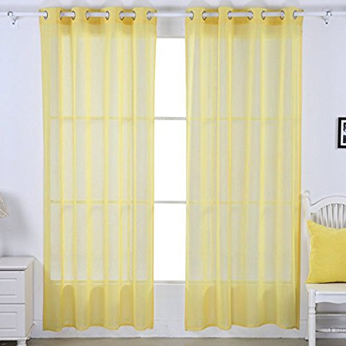 Deconovo Linen Look Transparent Curtains Sheer Grommet Window Curtain Window Covering Shade For Bedroom Lemon Yellow