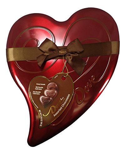 Dove Valentine Candy Assorted Chocolates, Milk & Dark Chocolate Truffle Hearts, and Creamy Carmels, Heart Tin 6.5oz (Dove Tin)