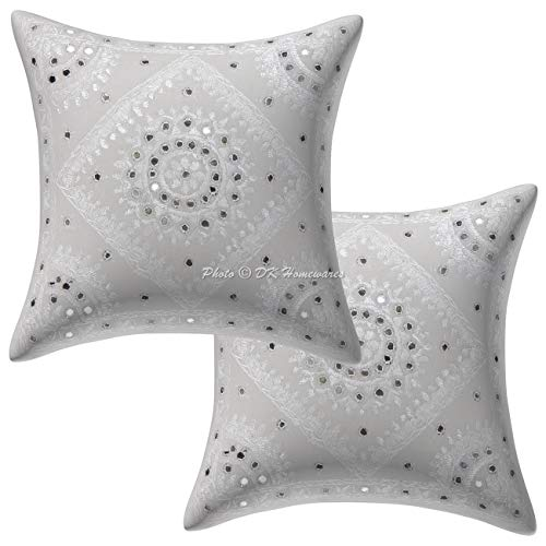 DK Homewares Cotton Decorative Throw Pillow Cover 16x16 Set of 2 White Indian Mirrored Embroidered Pillowcases Boho 40x40 cm Square Cushion Covers ()