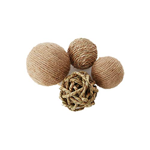 Litewood Natural Seagrass Ball Woven Grass Play Ball Hemp Rope Ball Small Animal Activity Play Chew Toys for Bird Parrot Bunny Rabbits Guinea Pig Chinchilla Rat Chews Toys, 4 Pack