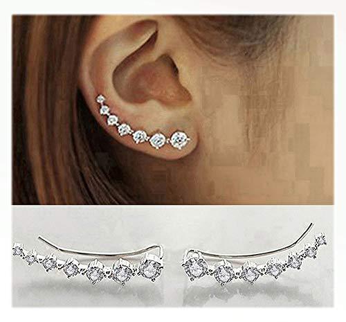 (Elensan 7 Crystals Ear Cuffs Hoop Climber S925 Sterling Silver Earrings Hypoallergenic Earring )