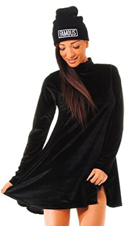 ba57301efb0 NEW WOMENS VELVET DRESS BLACK SWING DRESS POLO NECK VELVET SWING DRESS UK 8  - 14  Amazon.co.uk  Clothing