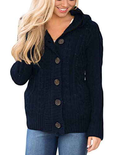 Sidefeel Women Hooded Knit Cardigans Button Cable Sweater Coat Medium Navy