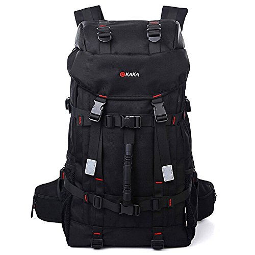 KAKA Backpack Sports Weekend Gym Bag Camping Climbing Mountain Black Backpack 55L Large 2010