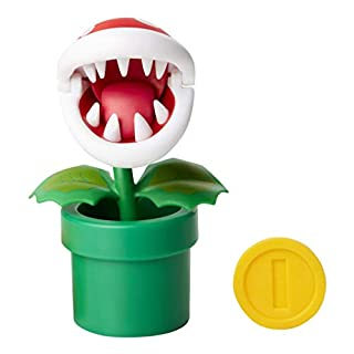 "Nintendo Super Mario Piranha Plant 4"" Articulated Figure with Coin"