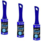 Lint Remover, Pet Hair Roller, Lint Roller and Pet Hair Remover Travel Size | Evercare 30 Sheet Sticky (Pack of 3) 90 Sheets
