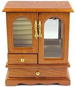 BZM-ZM エレガントなジュエリー収納ボックス多機能ソリッドウッドマルチレイヤジュエリーボックス、原木色の宝石箱