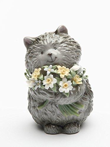 StealStreet SS-CG-20825, 3.5 Inch Painted Brown Little Bear Figurine Holding Flower - Inch 3.5 Bear