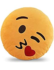 بي كول Emoji Smiley Emoticon Yellow Round Cushion Pillow Love Kiss وسائد
