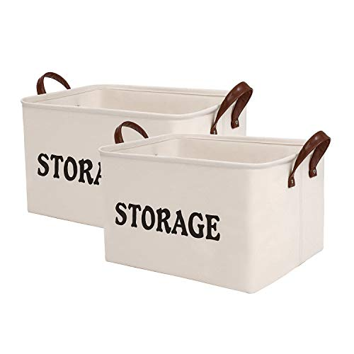 (SHINYTIME Storage Baskets Bins Large Organizer Toy Laundry Storage Basket for Kids Pets Home Living Room Closet (Beige 2pcs))