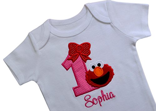 Embroidered Applique Onesie - Elmo 1st Birthday Bodysuit Romper for Girls - Embroidered with Birthday Girl's Name (White Bodysuit, Long Sleeve)