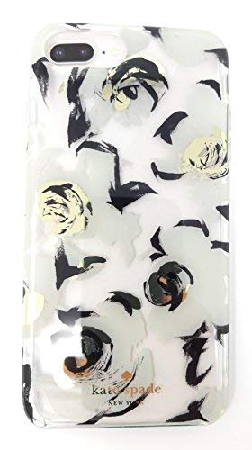 Kate Spade New York Protective Rubber Case For iPhone Black White Champagne Floral with Champagne Logo (iPhone 8 Plus/7 Plus/6s Plus/6 Plus)