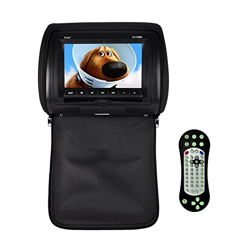 Pyle  Headrest DVD Player Video Monitor 7-Inch Wide Screen With , USB /SD Readers, Remote Control (Black) (PL73DBK) (Headrest Tv Dvd Players)