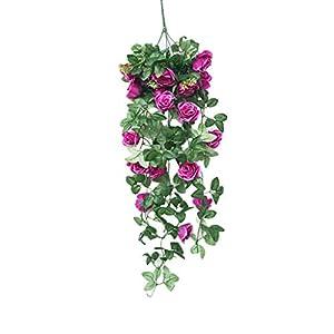 xatos Simulation Fake Flower Rose Vine Wall Hanging Flower Orchid Hanging Basket Flower Living Room Balcony Home Decoration Flower 26