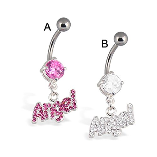 MsPiercing Angel Belly Button Ring, Clear - B