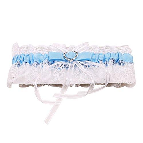 Myhouse Lace Heart Shaped Rhinestone Bridal Garter Wedding Garter Set Keepsake Toss For Brides (Blue)