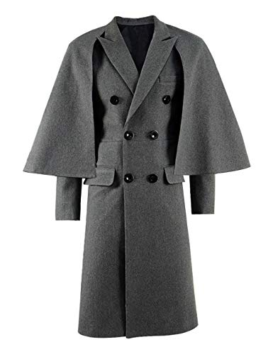 Xiao Maomi Cloak Coat Causal for Women's Clothing Plus Size Autumn Spring Grey Unisex Long Overcoat Halloween Costume (US Women-XXL, Grey) -