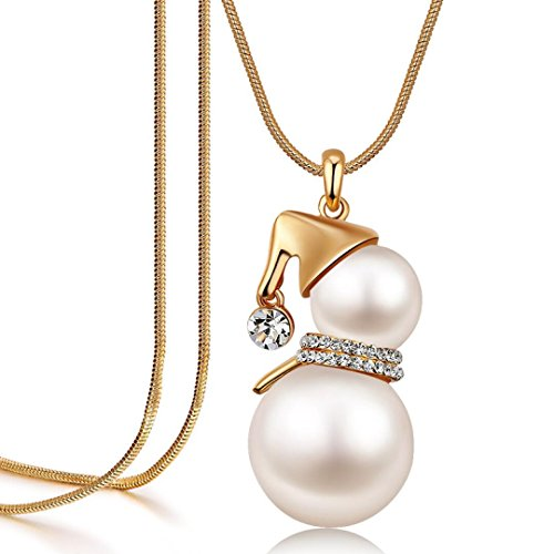 Cafurty Cute Snowman Pendant Long Necklace For Women Pearl Jewelry Santa Claus Christmas Gifts