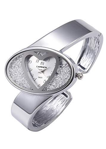 Ladies Heart Bracelet - Top Plaza Womens Ladies Fashion Silver Bangle Cuff Bracelet Watch Heart Shape Dial Elegant Analog Quartz Dress Watch