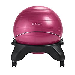 Gaiam Backless Balance Ball Chair - 52cm Stability Ball Home & Office Desk Chair With Inflation Pump, Fuchsia