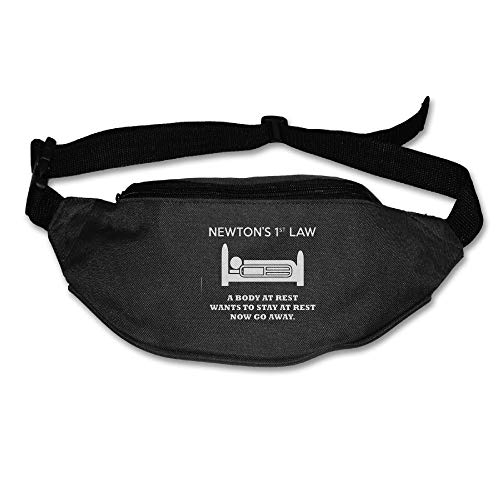 Ada Kitto Newton's 1st Law - Now Go Away Mens&Womens Sport Style Travel Waist Bag For Running And Cycling Black One Size by Ada Kitto
