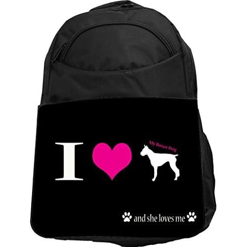 Rikki Knight UKBK I Love My Boxer Dog Tech BackPack - Padded for Laptops & Tablets Ideal for School or College Bag BackPack