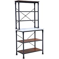 "Furniture HotSpot – Farmhouse Bakers Rack/ Kitchen Rack – Matte Black w/ Gray Marble - 31 W x 18.25 D x 65.25"" H"