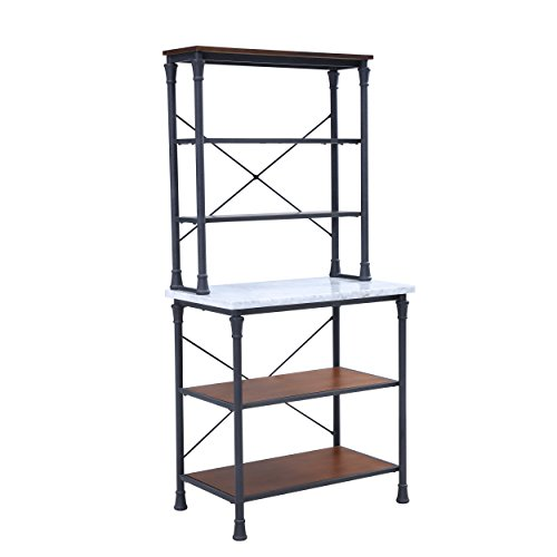 "Furniture HotSpot – Farmhouse Bakers Rack/Kitchen Rack – Matte Black w/Gray Marble – 31″ W x 18.25″ D x 65.25"" H Review"