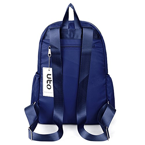 UTO Laptop Backpack Oxford Waterproof Cloth Nylon Unisex Rucksack School College Bookbag Travel Bag Shoulder Purse Black Azul__