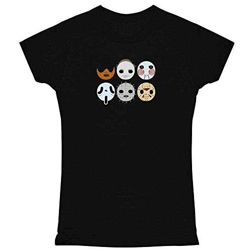 Horror Masks Halloween Costume Monster Black L Womens Tee Shirt -