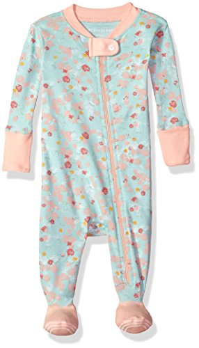 Burt's Bees Baby Baby Girls' Soft Organic GOTS Certified Floral Zip Front Non-Slip Footed Sleeper Pajamas, Blue Sky Ditsy Floral, 12 Months