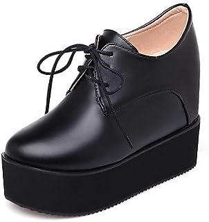 NJX/ hug Chaussures Femme - Extérieure / Habillé / Décontracté - Noir / Blanc - Talon Compensé - Talons / A Plateau - Talons - Similicuir black-us1.5 / eu31 / uk0.5 / cn30 MKJMK