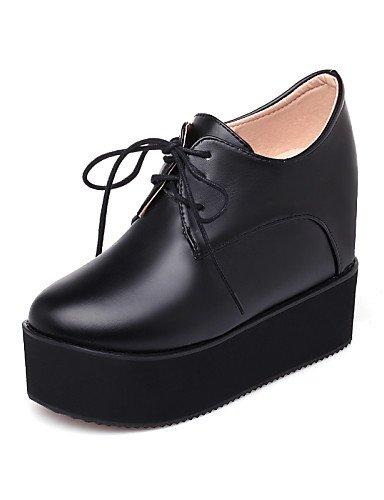ZQ hug Zapatos de mujer - Tacón Cuña - Tacones / Plataforma - Tacones - Exterior / Vestido / Casual - Semicuero - Negro / Blanco , black-us8.5 / eu39 / uk6.5 / cn40 , black-us8.5 / eu39 / uk6.5 / cn40 black-us9 / eu40 / uk7 / cn41