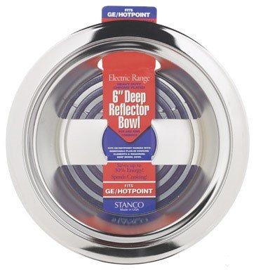 Stanco Deep Reflector Bowl Fits Ge/Hotpoint Ranges Chromed Steel, Porcelain 6 In.