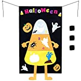 Halloween Hanging Toss Game Pumpkin Bag for Throwing with Three Bean Bags 30X54 inch Party Decoration Outdoor,Indoor for Kids