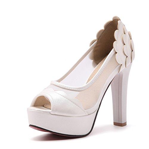 ete Mesh Peep sur Femme Talon Femmes Slip Sandale Robe Les Wedge Haute pour Plate Blanc Sexy Chaussures Pompes Toe Party Forme Sandale dSztxgd