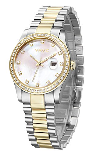Bezel Mother Of Pearl Wrist Watch (VAVC Women's Dress Casual Gold Crystal Accented Two-Tone Stainless Steel Quartz Wrist Watch)