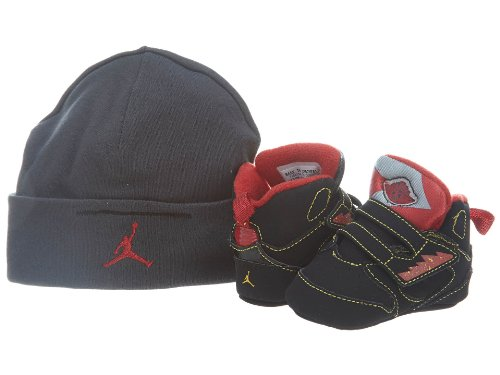 CRIB NIKE JORDAN SIXTY PLUS (365166 071) (1 M, BLACK/VARSITY MAIZE-VRSTY RED)