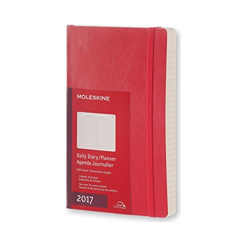 Moleskine 2017 Daily Planner, 12M, Large, Scarlet Red, Soft Cover (5 x 8.25)