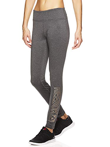 Reebok Women's Fleece Lined Leggings - Cold Weather Workout Running & Gym Athletic Tights Full Length Performance Compression Pants - Pop Nouveau Charcoal, Large
