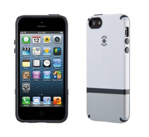 Speck Products CandyShell Flip Dockable Case for iPhone 5 & 5S - White/Pebble Grey/Charcoal Grey (5s Speck Flip Iphone Case)