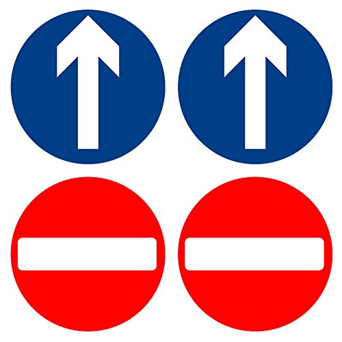 dealzEpic - Blue Arrow Entry and Red Do Not Enter Sticker/Gate Machine Sticker - Self Adhesive Peel and Stick Multi-Purpose Vinyl Decal - 3.94 inches in Diameter | Pack of 4 Pcs