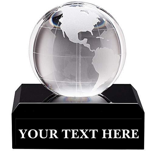 "Crown Awards Crystal Globe Trophies, 3"" Mini Crystal Globe Pedestal Trophy, Great Custom Corporate Gifts Prime"