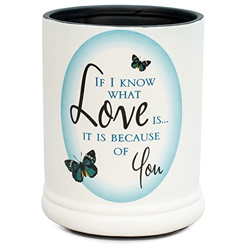 Love You Blue Butterfly Ceramic Stoneware Electric Large Jar Candle Warmer