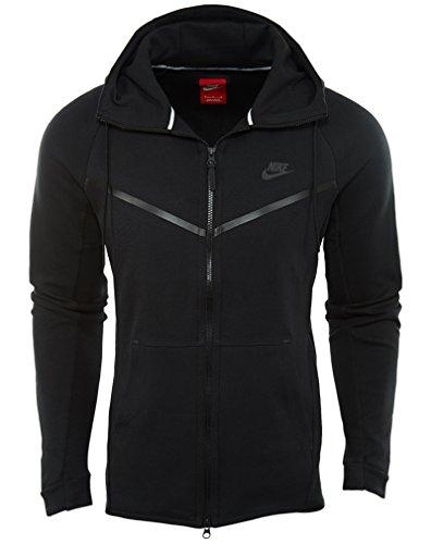 Nike Mens Fleece (Nike Mens Sportswear Tech Fleece Windrunner Hooded Sweatshirt Black/Black 805144-010 Size Large)