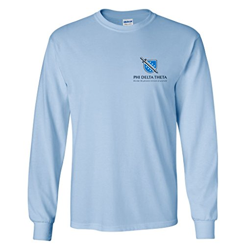 (VictoryStore Phi Delta Theta Long Sleeve Shirt Front-Become The Greatest Version of Yourself Back- Fraternity Crest (Medium, Light Blue))