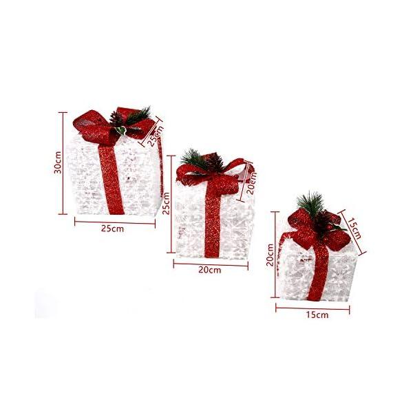 CCLIFE LED accendere Decorativa Natale Pacco Regalo Box Set dimmerabile, 3 Pezzi, Scatola Regalo LED, Illuminazione Decorativa, Colore:C: bianco + rosso, lana 4 spesavip