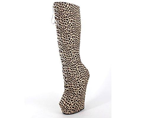 WONDERHEEL heelless Knee High Boots Leopard Fetish Platform Lace Up Boots Zipper