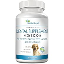 Nutrition Strength Dental Care for Dogs, Daily Supplement for Healthy Dog Gums and Teeth with Organic Kelp, Strawberry Leaf, Pumpkin Seed for Natural Dog Mouth and Teeth Cleaning, 120 Chewable Tablets